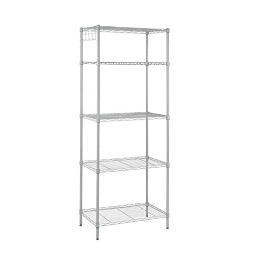 """HOMEFORT 5-Tier Wire Shelving 5 Shelves Unit Metal Storage Rack Durable Organizer Perfect for Pantry Closet Kitchen Laundry Organization in Grey,21""""Wx14""""Dx61""""H"""