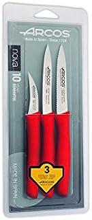 Arcos Serie Nova - Caja 12 uds Set 3 pzas. Cuchillos Mondadores - Hoja de Acero Inoxidable de 60 mm / 100 mm / 100 mm - Mango de Polipropileno Color Rojo (12 x 3 UDS / 36 UDS en Total)