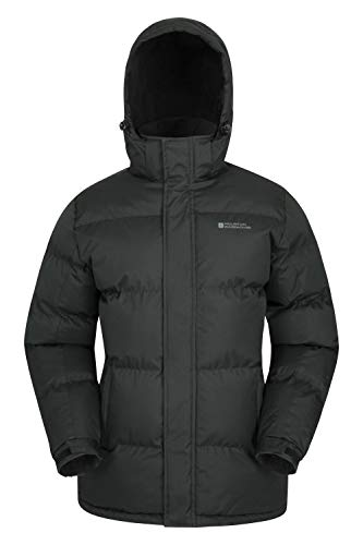 Mountain Warehouse Chaqueta de Nieve para Hombre - Impermeable, con Capucha, puños y Dobladillo Ajustables - Ideal para Viajes en Invierno Negro S