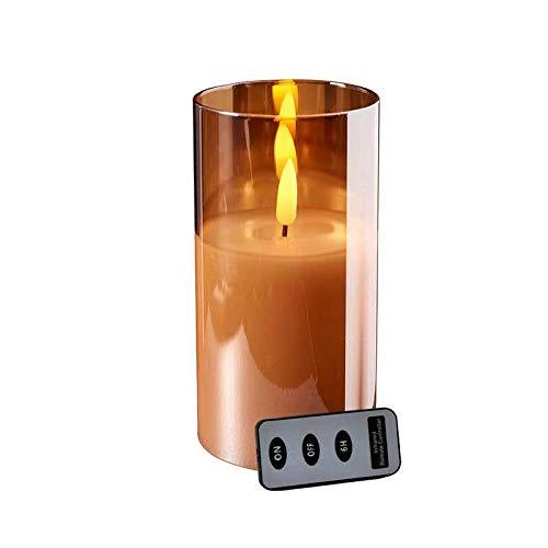 Hochwertige LED Kerze im Glas - mit Fernbedienung & Timer - ⌀ 10 cm - Realistische & Flackernde Flamme - Weihnachten Deko (Amber, Höhe: 20 cm)