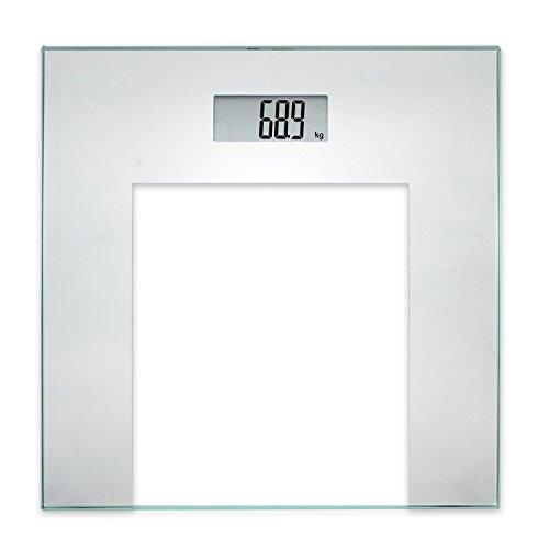 TROP báscula de baño digital,  gris plata,  base de vidrio templado,  con pantalla LCD,  encendido y apagado automático,  2- 180 kg/balanza/medir peso corporal/balanza digital
