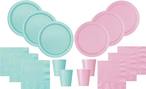 102 Teile Party Deko Set Baby Rosa Pastell Mint für 30 Personen