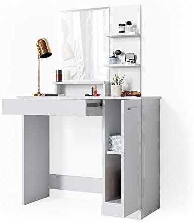 Vicco Table de Maquillage Julia Coiffeuse avec Miroir et étagère Blanc