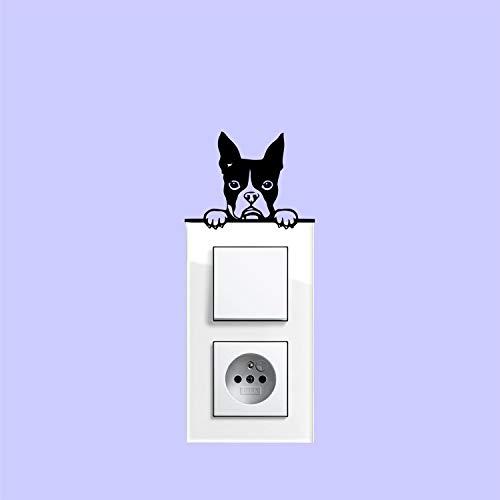 myrockshirt Adhesivo para interruptor de luz, diseño de perro Boston Terrier, aprox. 10 cm, para coche, pintura, cristal y pared, adhesivo de calidad profesional