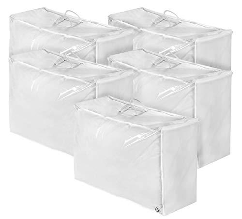 sleepling Kopfkissen/Bettdecke/Steppbett 5er Set Aufbewahrungstasche mit 3-seitigem Reißverschluss 58 x 40 x 25 cm