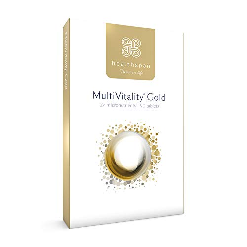 MultiVitality Gold | Healthspan | 27 Micronutrients | Multivitamin with Iron | Vitamin B12 | Vitamin D | Calcium | Zinc | Vegetarian (90 Tables)