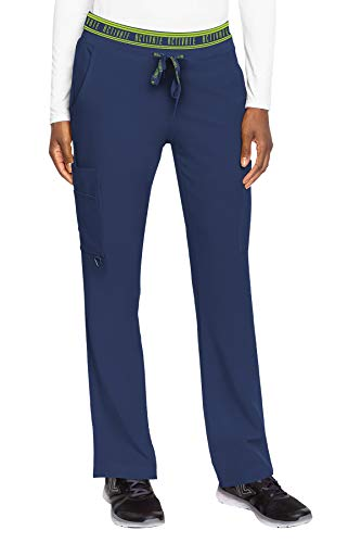 Med Couture Women's Activate Flow Yoga Two Pocket Cargo Scrub Pant, Navy, Large