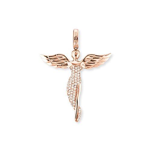 Engelsrufer Damen Engel Anhänger 925er-Sterlingsilber rosévergoldet besetzt mit 92 weißen Zirkonia Größe 52 mm