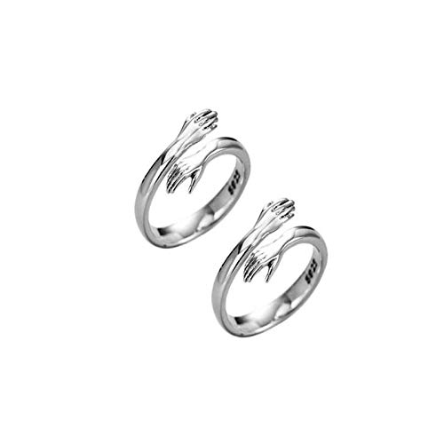 Fashion Love Hug Rings for Men Women 925 Silver Party Rings Open Ring Gift (4pcs)