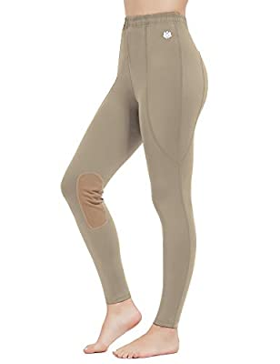 FitsT4 Kids Performance Riding Tights Flex Knee Patch Breeches Girls Horse Equestrian Schooling Pants Khaki M by FitsT4 Sports