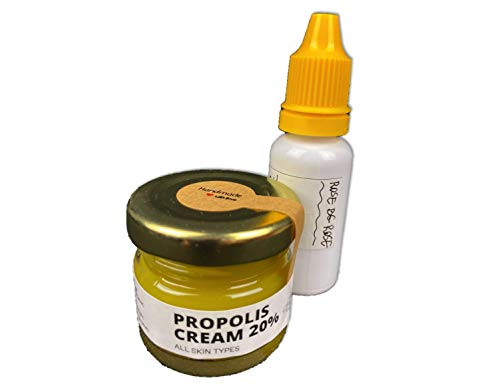 Organic Propolis Ointment and Propolis Tincture, 100% Natural Bee Products, Pure Propolis Drops & Beewax Healing Ointment, 45g 20% Homemade Propolis Cream for Problem Skin, 20ml 30% Propolis Tincture