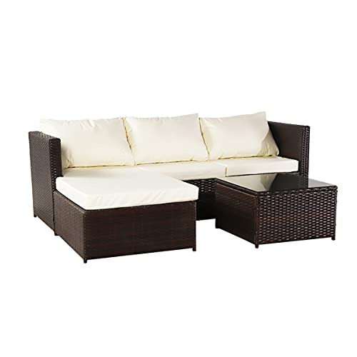 XDOVET Juego de muebles de jardín, juego de muebles de jardín de ratán para exteriores, sofá de esquina de 4 piezas, sofá de California con mesa de café (marrón)