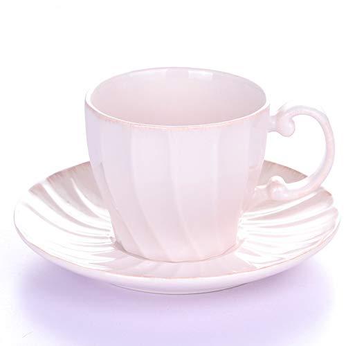 HRDZ Taza de cerámica para el hogar Simple Juego de té de la Tarde Juego de platillo de Taza de café Taza de té Rojo