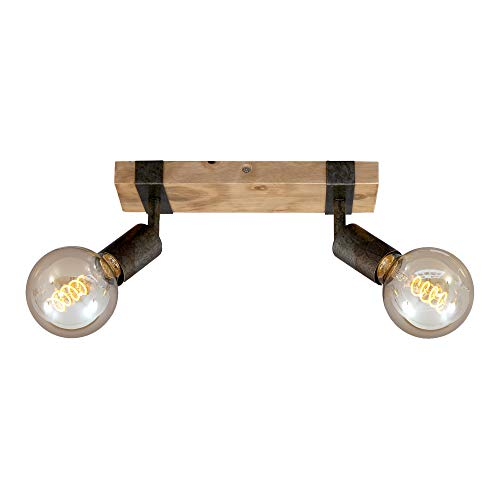 Briloner Leuchten Lampada da soffitto, faretto retrò, Vintage, Girevole e orientabile, 2X E27, Metallo-Legno, Colore: Grigio Piombo, 280x100x90mm (LxPxA), Canna di Fucile