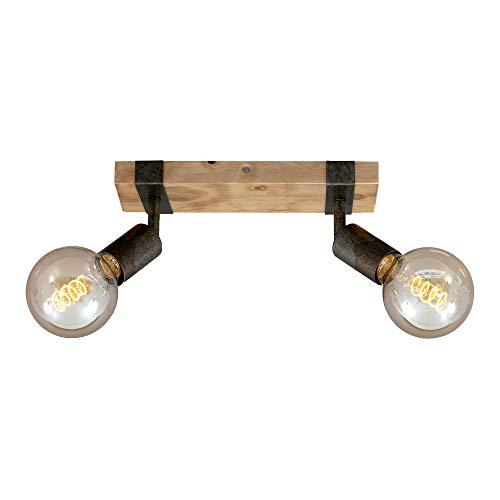 Briloner Leuchten - Spotleuchte, Deckenspot retro, Deckenleuchte vintage, Spots dreh- und schwenkbar, 2x E27, Metall-Holz, Farbe: Gunmetal, 280x100x90mm (LxBxH), 2900-021