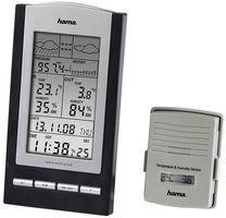 Hama Funk-Wetterstation mit Außen-Sensor (Thermometer, Hygrometer, Barometer, Außensensor mit hoher Reichweite, misst Innen- und Außen-Temperatur, inkl. DCF Funkuhr, Wanduhr) schwarz