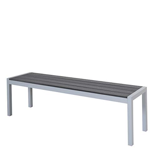 Chicreat Aluminium Bench with Polywood Surface, Silver and Black, 160 x 40 x 45cm