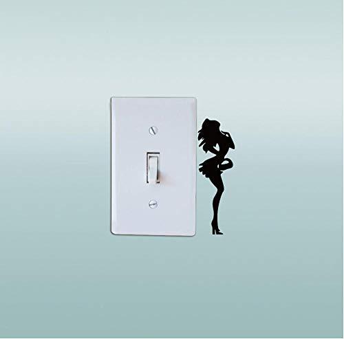 Guokaixyz Meisje Figuur Korte Rok Hoge Hakken Vinyl Schakelaar Sticker Silhouette Muursticker voor Slaapkamer Home Decor 2 stks