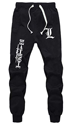 Gumstyle Death Note Anime Sweatpants Joggers Elastic Waist Pants Cosplay Costume Sport Jersey Trousers Black/3 L
