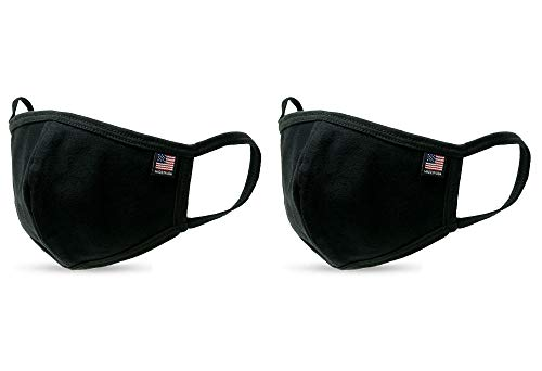 Shamaim Made in USA Cotton Washable Double Layered Nose Wire Bridge Adult Face Mask with America flag label Pack of 2 (Black)