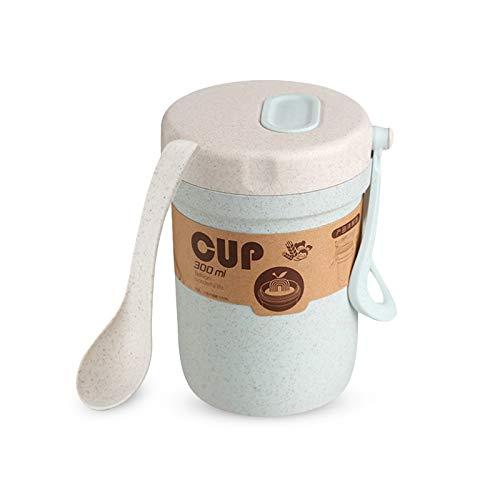 Mousyee Taza de Yogur, Recipiente Portátil de 300 ml para Muesli de Cereales con Leche, Apto para Microondas, sin BPA, Sellado para Evitar Desbordes, con Cuchara para El Desayuno (Azul)