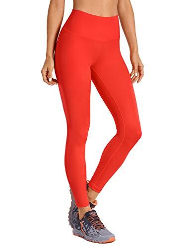 CRZ YOGA Mujer Mallas Largos Leggings Deportivos Cintura Alta con Bolsillo-63cm Rojo Oscuro 44