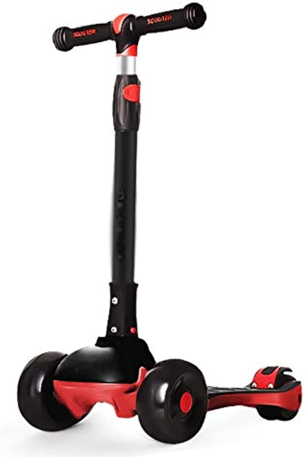 LJHBC Wheel Scooter 3Wheel Scooter with Flash Height Adjustable 6074cm Easy to fold Boy Girl Bearing Weight 80kg 312 Years Old (color   Black)