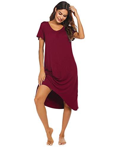 Ekouaer Women's Short Sleeve Nightgowns Soft Long Sleep Shirts Sleepwear Plus Size S-2XL Wine Red