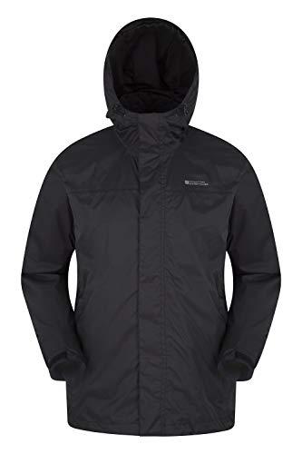 Mountain Warehouse Torrent Jacke für Herren - Wasserfeste Regenjacke, Leichter Mantel mit versiegelten Nähten, Freizeitjacke Schwarz Large