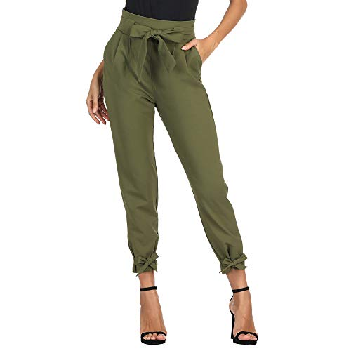 GRACE KARIN Damen Hose Carpi Hose Schleife Hose 9/10 Elegant Schleife Hose Freizeithose mit Taschen Armeegrün CL010903-2_S