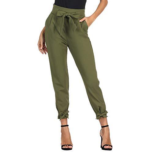 Pantaloni Donna Elegante Larghi con Cintura Elasticizzata Bodycon Casual Moda Verde Oliva S CL10903-2
