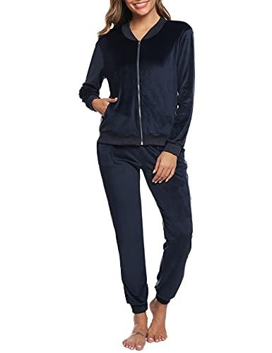 Akalnny Chándal Conjunto Mujer de Terciopelo Informal Pijamas Trajes Chaquetas de Manga Larga con Cremallera + Pantalones de Cintura Alta Azul Marino