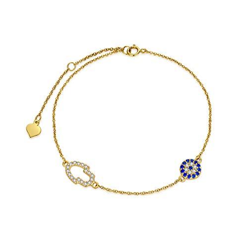 SISGEM 9 ct Gold Evil Eye Bracelet, Solid Gold Hamsa Hands and Evil Eye Charm Link Bracelet, Fatima Hand Bracelet, for Womem Ladies Mum Girl, 6.5+1+1inch