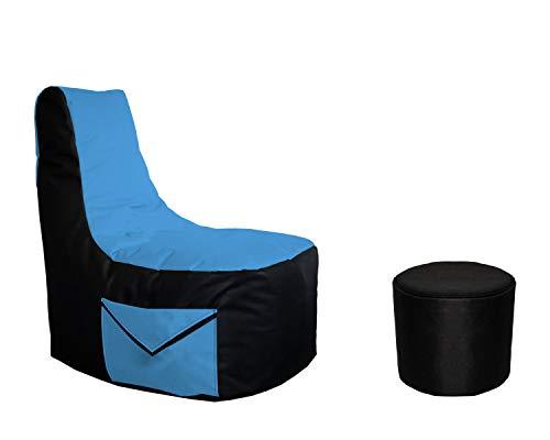 Lacasa Gaming Sitzsack 85x80x35 mit Seitentasche und Hocker Erwachsene Sessel XXL kompatibel mit PS4 XboxOne Nintendo Switch Outdoor Indoor Bodenkissen Sitzkissen in Schwarz & Hellblau.