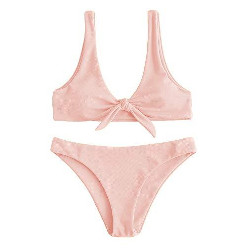 ZAFUL Damen Gerippter Geknoteter Gepolstert U-Ausschnitt Bikini Set Rosa M