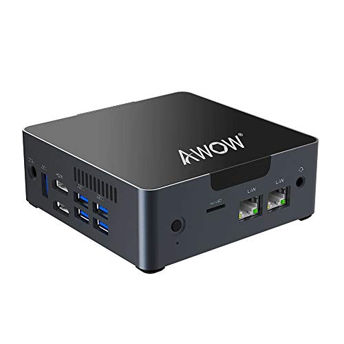 AWOW Mini PC AK34 Windows 10 6GB DDR4 128GB SSD Desktop Computer, Intel Celeron N3450 4K HD/Dual LAN/2.4G+5G WiFi/BT 4.2/HDMI