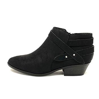 Soda Women s Fashion Closed Toe Multi Strap Ankle Bootie Block Heel  Black Sweeten numeric_8_point_5