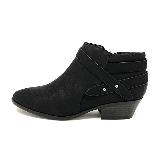Soda Women's Fashion Closed Toe Multi Strap Ankle Bootie Block Heel (Black Sweeten, numeric_11)