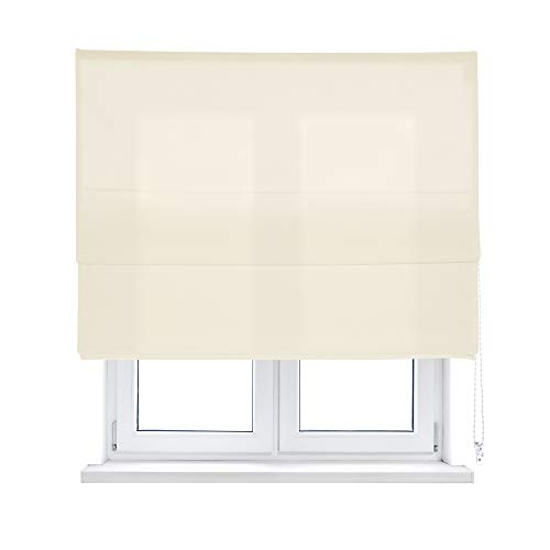 KAATEN Estor Plegable Loneta a Cadena-Disponible en Varias Medidas y Colores, Marfil, 105x250