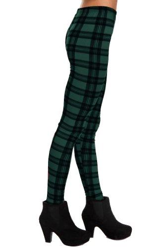 So In Fashion Women's Leggings Women's Leggings in Green Tartan - ML