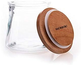 AWAING Bocaux Hermétique Récipient sous pression, verre clair avec couvercle en bois, Pot de rangement for Candy Cookie th...
