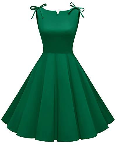 MuaDress 1958 Nuovo Stile Vestiti Anni 50 Donna Vintage Cocktail Partito retrò Swing Abito Elegante Collo della Barca Esercito Verde 2XL