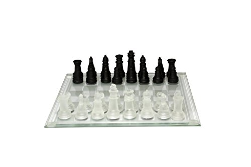 8.5' Glass Chess Set with Frosted White & Gloss Black Chessmen