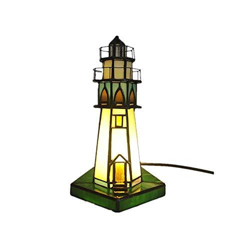 Lámpara de Vitral Torre de la luz del estilo de Tiffany Stained Glass Table lámpara decorativa Mesita de luz cabecera del escritorio de la sala dormitorio de la luz Noche de Padres de Niños amante ama