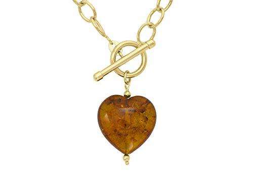 Carissima gouden ketting met barnsteenhart en Tbar 9 karaat geelgoud 46 cm 1.17.1004