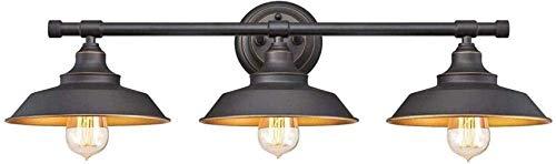 ZHANGYY Luz de Espejo de baño Vintage Lámparas de Pared de baño Negras Metal Edison Pantalla Retro 3 Luces Lámpara de Pared Industrial E27 Luz de vanidad [Clase energética A]