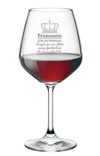 Calice da Vino con Incisione Personalizzabile con Nome Maestro/Prof - Personalizza con Il Nome della Classe - Bicchiere in Vetro 500 ml
