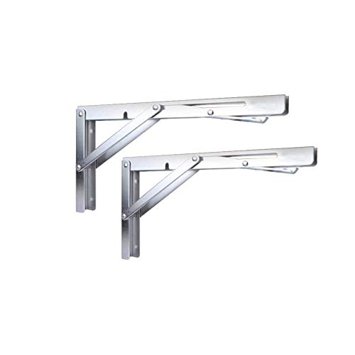 Soporte plegable para estante – Banco mesa plegable estante o soporte, carga máxima 330 libras (mango de liberación larga), (se vende por pares)