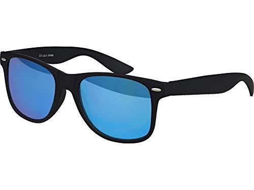 Balinco Hochwertige UV400 CAT 3 CE Nerd Sonnenbrille matte Rubber Retro Vintage Unisex Brille mit Federscharnier für Herren & Damen (Schwarz - Blau verspiegelt)