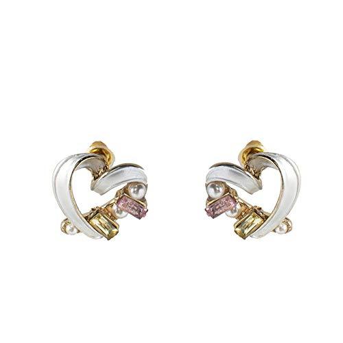 金桥Pendientes de botón con forma de corazón de melocotón de color perla con aguja de plata